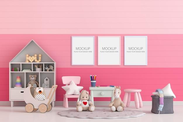 Розовая детская комната с рамным макетом Бесплатные Psd