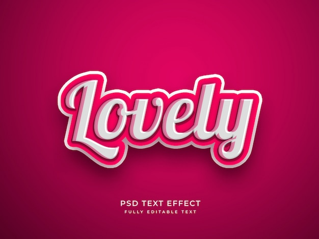 Pink color lovely 3d text effect Premium Psd