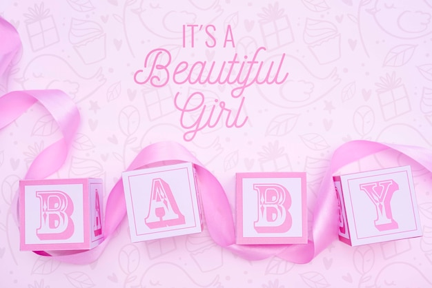 Pink gender reveal baby shower for girl Free Psd