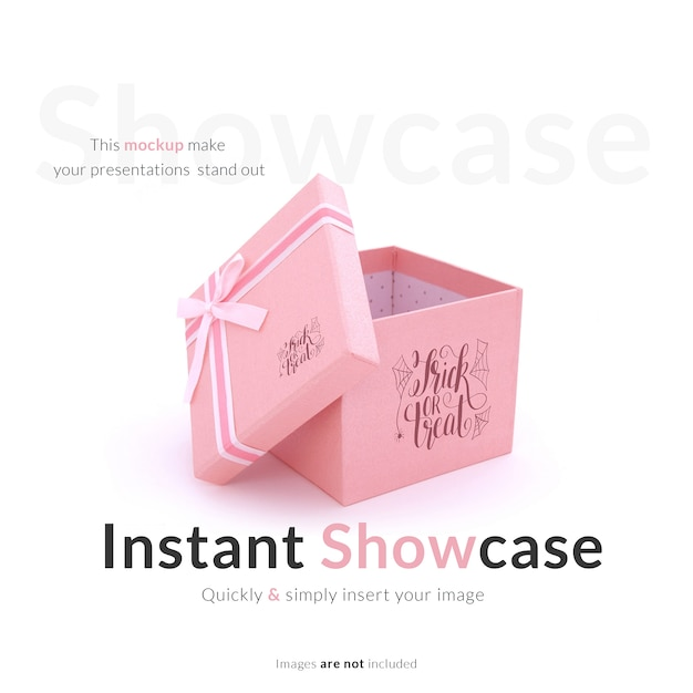Pink gift box mock up Free Psd