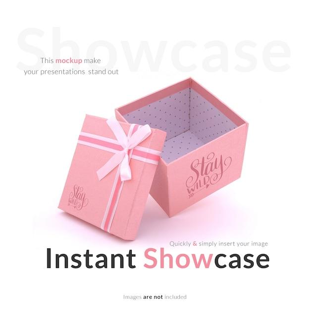 Розовая подарочная коробка макет Бесплатные Psd