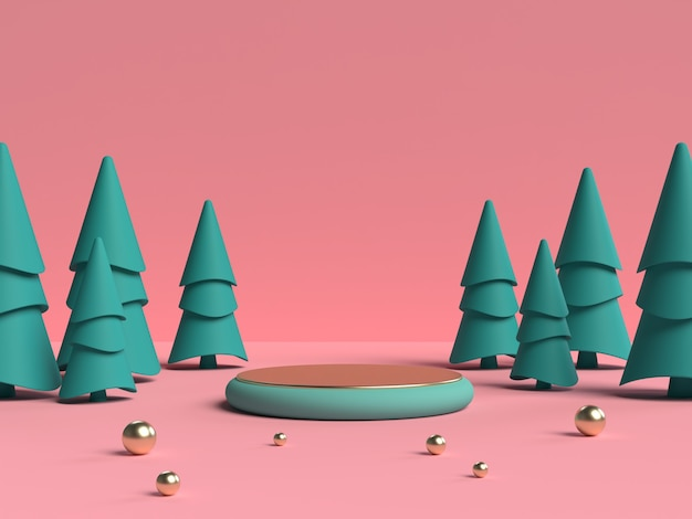 Pink and green 3d rendering of abstract scene geometry shape podium for product display Premium Psd