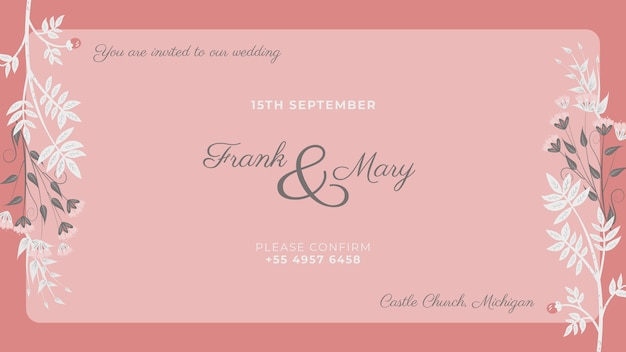Pink invitation with painted white flowers Free Psd