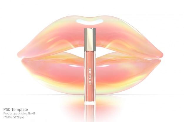 Розовый блеск для губ на белом фоне 3d визуализации Premium Psd