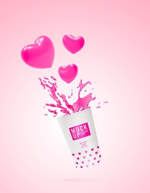 Рекламный макет розового молока Premium Psd