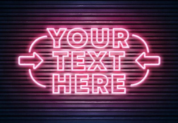 Pink neon text on brick wall mockup Premium Psd