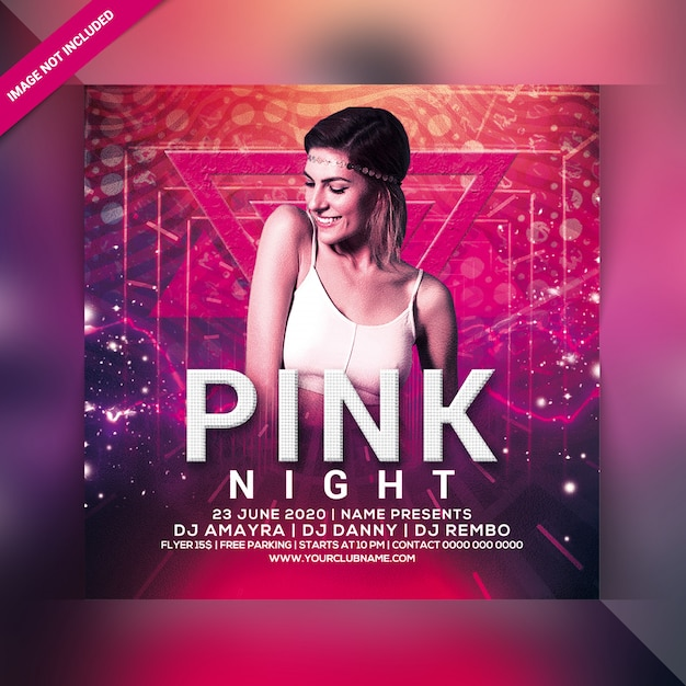 Pink night party flyer Premium Psd