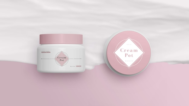 Pink packaging of cosmetic products Free Psd