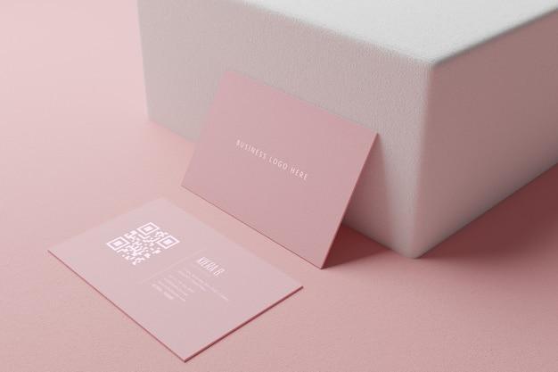 빈 공간 표지와 핑크 파스텔 명함 종이 이랑 템플릿 프리미엄 PSD 파일