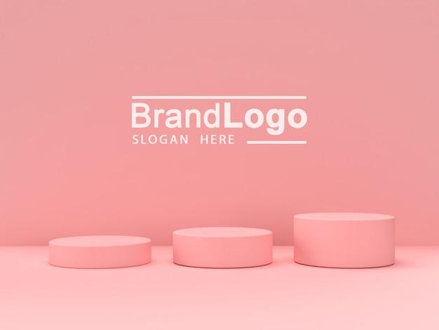 Розовая пастель продукта стоять на фоне. абстрактная минимальная геометрия concept.3d рендеринг Premium Psd