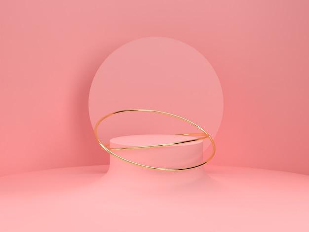 핑크 파스텔 제품 배경에 서있다. 추상 최소한의 기하학 Concept.3d 렌더링 프리미엄 PSD 파일