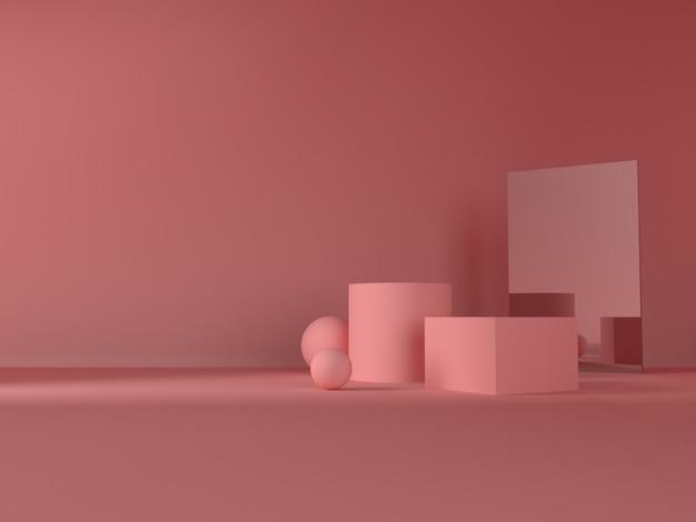 Розовая пастель продукта стоять на фоне. абстрактное понятие минимальной геометрии Premium Psd
