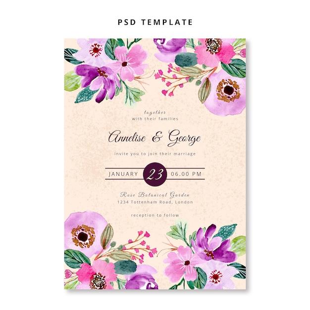 Pink purple floral watercolor wedding invitation template Premium Psd