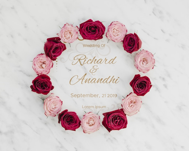 Pink and red roses save the date Free Psd