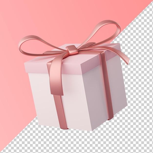 Розовая лента подарочная коробка изолированные прозрачной 3d визуализации Premium Psd