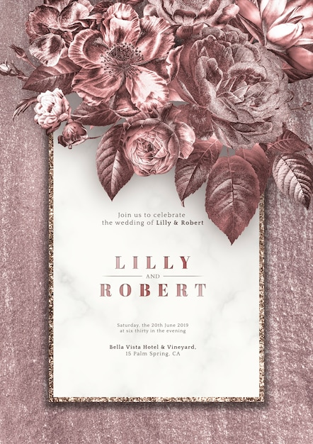 Pink roses wedding invitation Free Psd