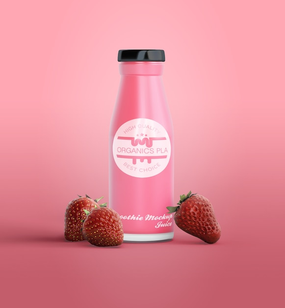 Pink smoothie in bottle mock-up Free Psd