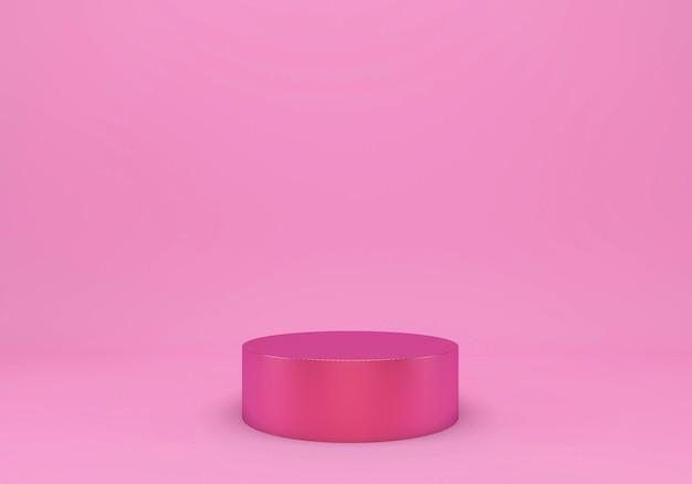 Розовая студия с геометрическими формами и подиумом для презентации продукта Premium Psd