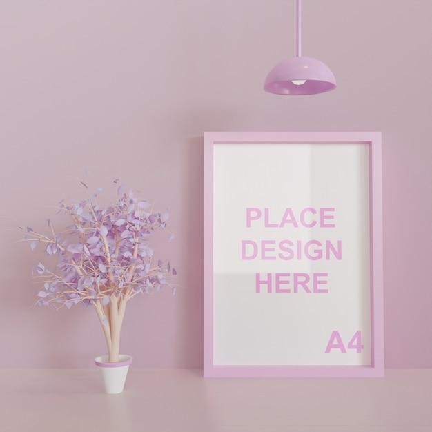 Pink theme square frame mockup Premium Psd