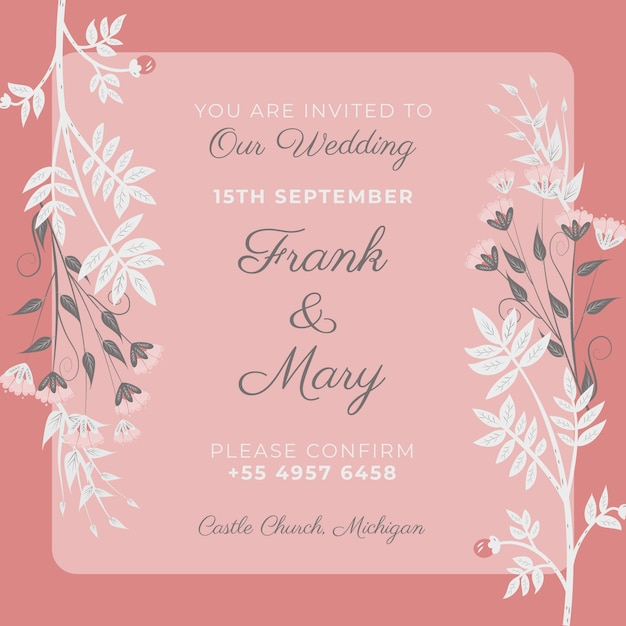 Pink Wedding Invitation Template Psd File Free Download