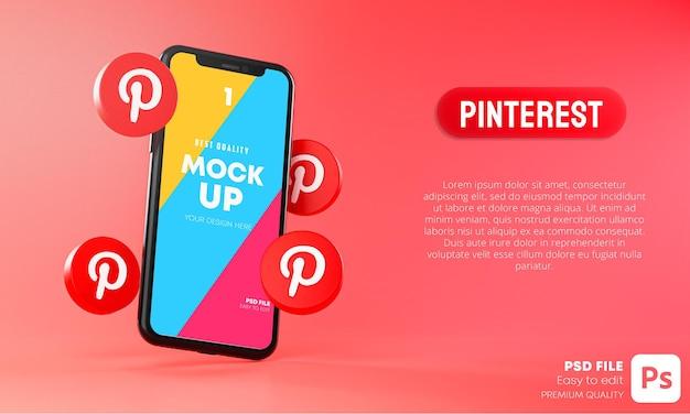 스마트 폰 앱 모형 3d 주변의 Pinterest 아이콘 프리미엄 PSD 파일