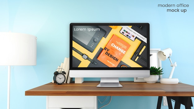 Pixel perfect mockup of apple imac computer screen in bright, modern office on wooden table with office decor psd mock up Premium Psd