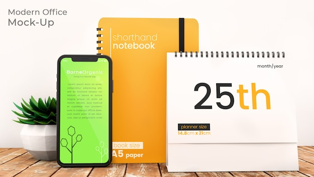 Pixel perfect modern office scene mockup with iphone x, notebook, and desktop planner on rustic wooden table with office supplies psd mock up Premium Psd