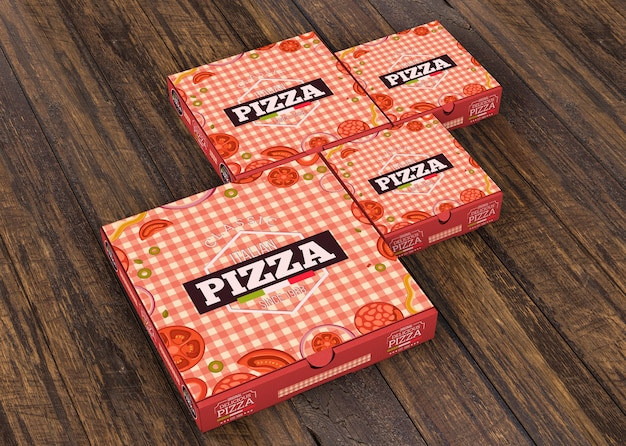 Pizza boxes mockup in different sizes Free Psd