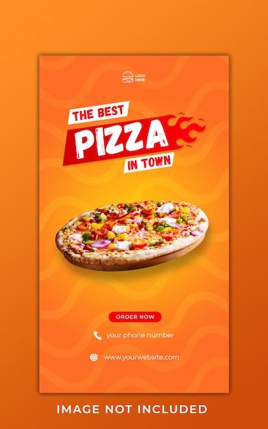 Пицца еда меню продвижение instagram истории баннер шаблон Premium Psd