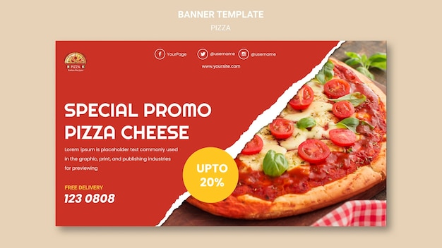 Pizza restaurant banner template Free Psd