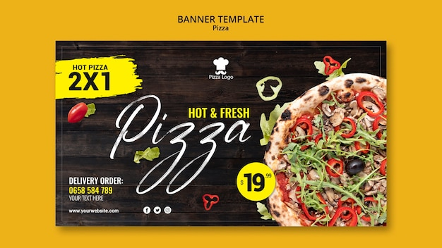 Pizza restaurant horizontal banner template Free Psd
