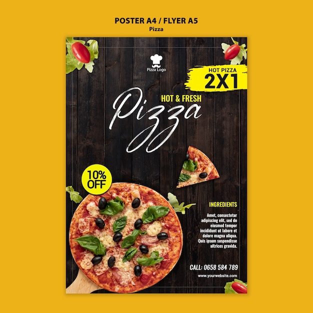 Pizza restaurant poster template Free Psd