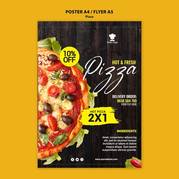 Pizza restaurant poster with photo Free Psd