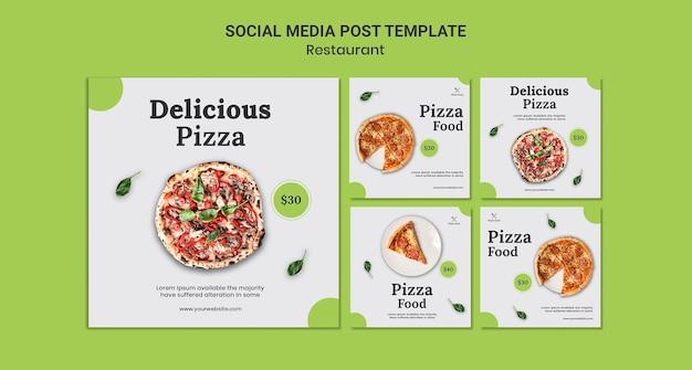 Шаблон сообщения в социальных сетях пиццерии Бесплатные Psd