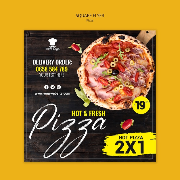 Pizza restaurant square flyer template with photo Free Psd