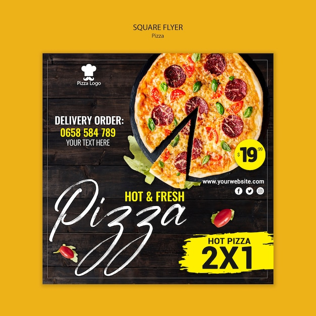 Pizza restaurant square flyer template Free Psd