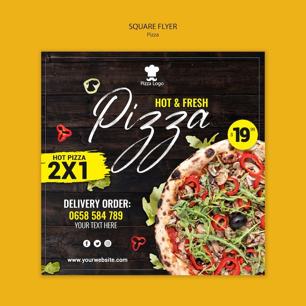 Pizza restaurant square flyer with photo Free Psd