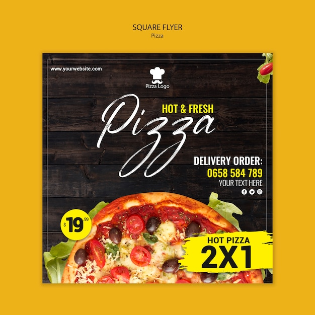 Pizza restaurant square flyer Free Psd