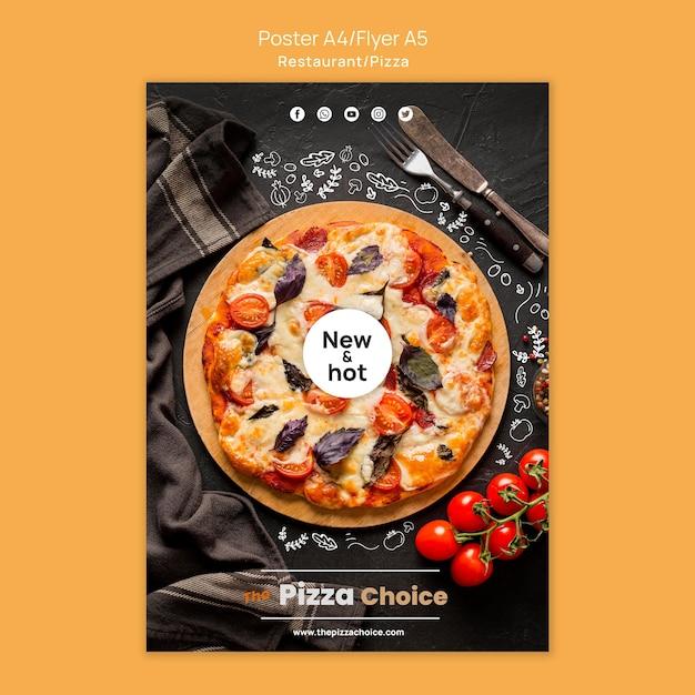 Пицца ресторан шаблон плакат Бесплатные Psd