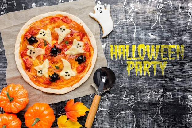 Pizza treat for halloween party Free Psd