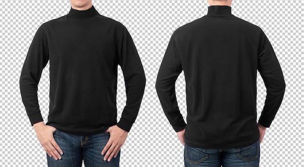 Plain black long sleeve t-shirt mockup template for your design. Premium Psd