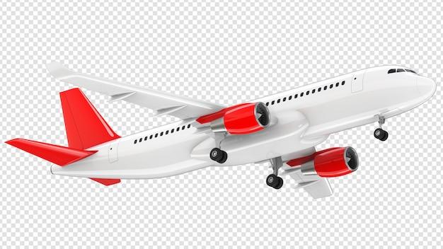 Самолет с красным хвостом взлетает Premium Psd