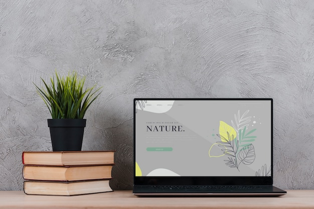 Plant on books beside laptop at office Free Psd