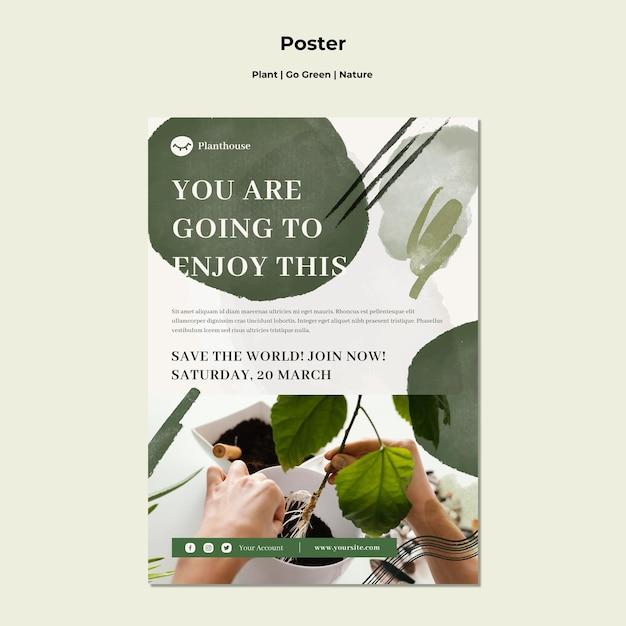 Pianta go poster natura verde Psd Gratuite