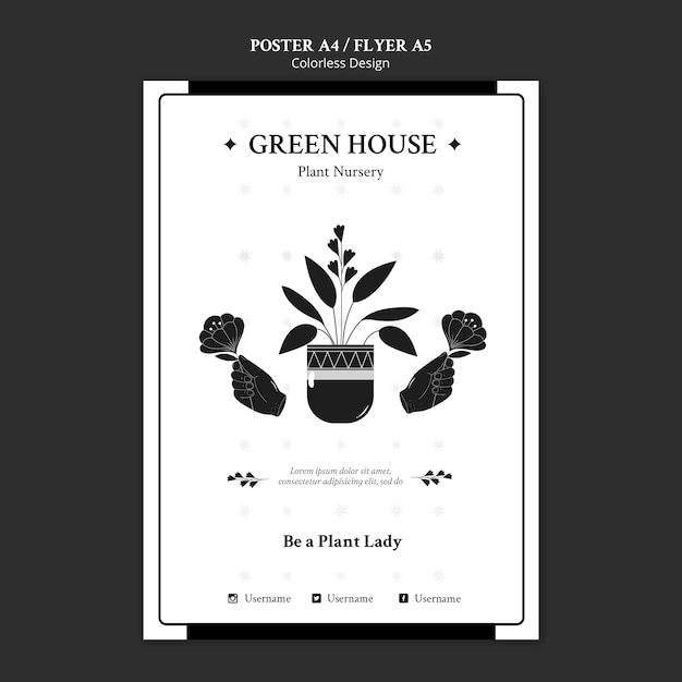 Plant nursery poster template Free Psd
