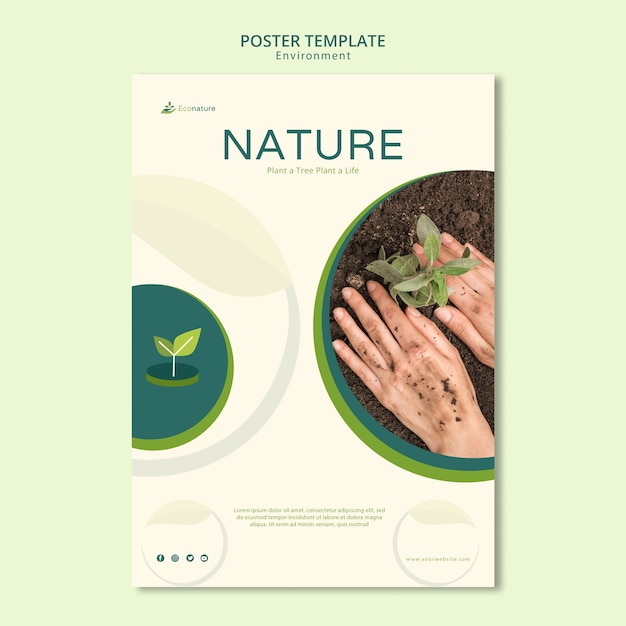 Plant a tree poster template Free Psd