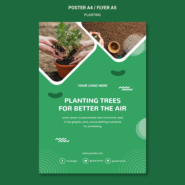 Plant trees for better air poster template Free Psd