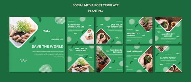 Plant trees for better air social media post Free Psd