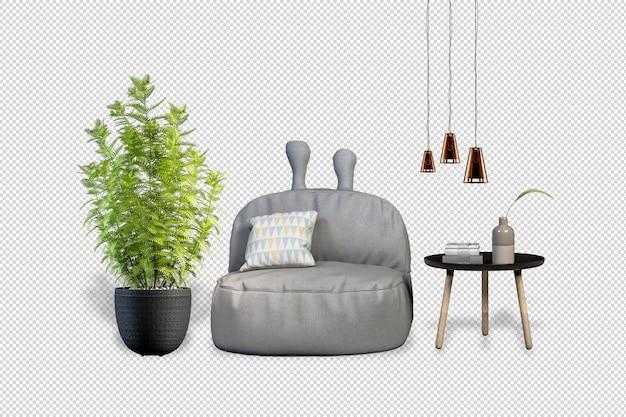 Кресло plants в горшках в 3d визуализации Premium Psd