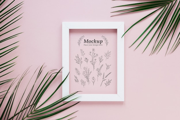 Plants arrangement mock-up with frame Free Psd